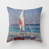 cafe racer Throw Pillows featuring Racer by Juliana Kroscen