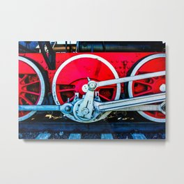 Red Wheels And White Rods Of A Vintage Steam Train Locomotive Metal Print
