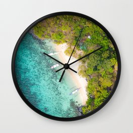 tropical island ocean view from above island aerial view bay blue lagoon palm trees yachts Wall Clock