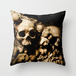 Skull walls in the catacombs Throw Pillow