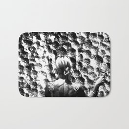 woman drinking a glass of wine on the moon Bath Mat