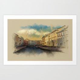 St. Petersburg, Moika river embankment. Art Print