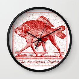 IF FISHES HAD LEGS (red) Wall Clock