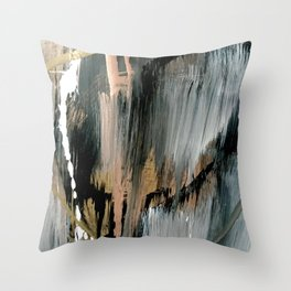01025: a neutral abstract in gold, black, and white Throw Pillow
