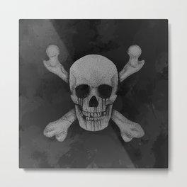 Jolly Roger Pirate Skull Grunge Metal Print