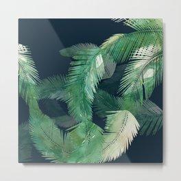 Tropical Leaves at Night Metal Print