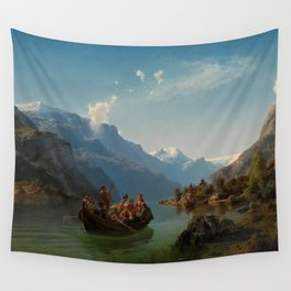 Bridal Procession on the Hardangerfjord by Hans Gude and Adolph Tidemand (1848) Wall Tapestry