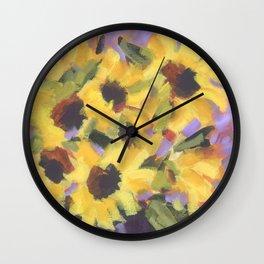 Golden Sunflower Bouquet Wall Clock
