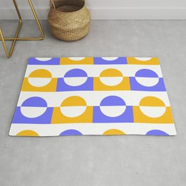Modern abstract complimentary colors  geomteric art  - purple and yellow Rug