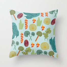 Tropical Plant Pattern Throw Pillow
