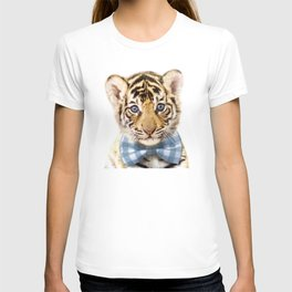 Baby Tiger With Bow Tie, Baby Animals Art Print By Synplus T-shirt