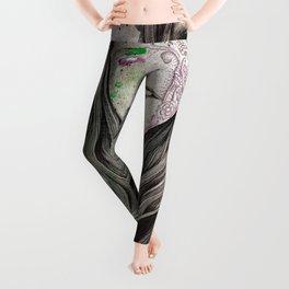 U-Turn (busty girl with mandala tattoos) Leggings