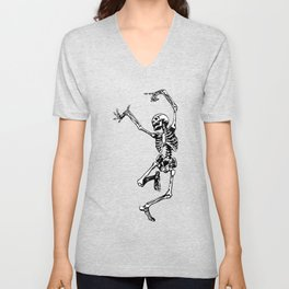 Dancing Skeleton | Day of the Dead | Dia de los Muertos | Skulls and Skeletons | Unisex V-Neck