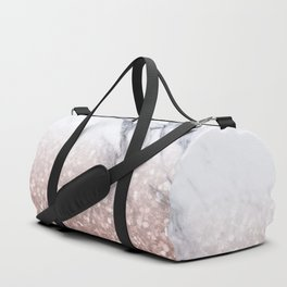 Rose Gold Glitter Marble Duffle Bag