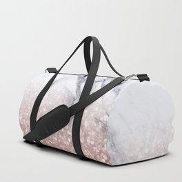 Rose Gold Glitter Marble Duffle Bag