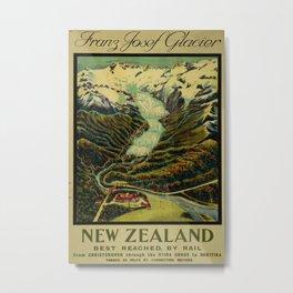 Franz Josef Glacier Vintage Travel Poster Metal Print