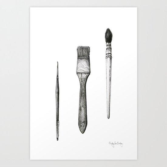 Retired Watercolor Brushes Art Print