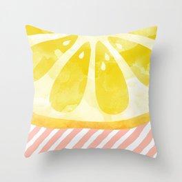 Lemon Abstract Throw Pillow