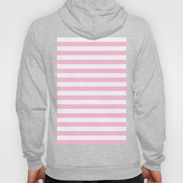 Narrow Horizontal Stripes - White and Cotton Candy Pink Hoody