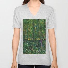 Brush and Underbrush flower and forest landscape by Vincent van Gogh Unisex V-Neck