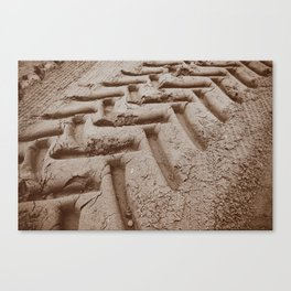 Tire tracks in the Sand Canvas Print
