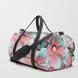 Peachy Mint Hibiscus Tropical Duffle Bag