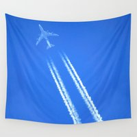 airplane Wall Tapestries featuring Airplane by Uldis Ķēniņš