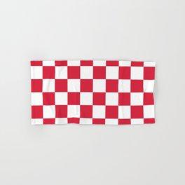 Red, Cherry: Checkered Pattern Hand & Bath Towel