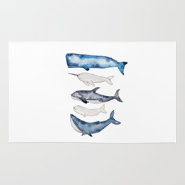 Watercolor orca whale, spermwhale, humpback, narwhal, beluga whales Rug