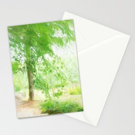 Beautiful green maple in summer day Stationery Cards