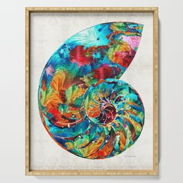 Colorful Nautilus Shell by Sharon Cummings Serving Tray