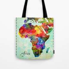 Africa Watercolor Map Tote Bag