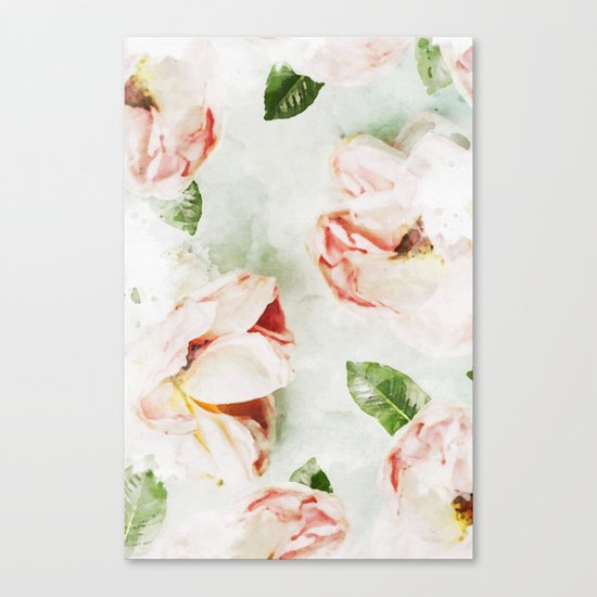 Roses & Foliage Watercolor Canvas Print