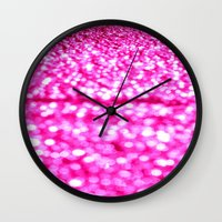 glitter Wall Clocks featuring Fuchsia Pink Glitter Sparkle by WhimsyRomance&Fun