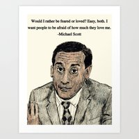 michael scott Art Prints featuring Michael Scott by AdrockHoward