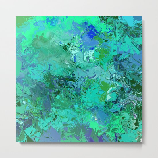 Blue Green Fractured Paint Swirls Metal Print