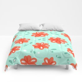 Cheerful Red Flowers Pattern Comforters