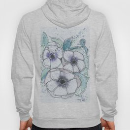 Anemone bouquet illustration watercolor and black ink painting Hoody