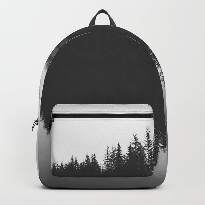Wooded Lake Reflection Black and White Backpack