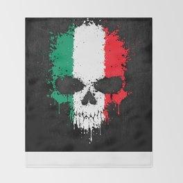 Flag of Italy on a Chaotic Splatter Skull Throw Blanket