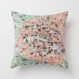 Vintage map of Paris Throw Pillow