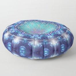 Flower Of Life Mandala Fractal turquoise Floor Pillow