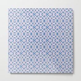 Vintage Vibes Retro Groovy Tile Pattern In Cerulean Blue Metal Print
