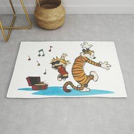 Hobbes Dancing with Vinyl Phonograph, Cute Artwork, Tshirts, Art Posters, Prints, Bags, Men, Women, Rug