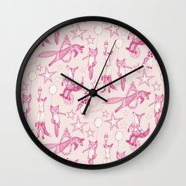 foxy circus pink ivory Wall Clock