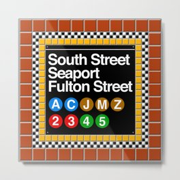 subway south street seaport sign Metal Print