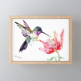 Little Hummingbird and Pink Flower, Bird art, minimalist bird painting, soft pink olive green design Framed Mini Art Print