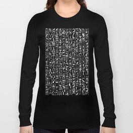 Hieroglyphics B&W INVERTED / Ancient Egyptian hieroglyphics pattern Long Sleeve T-shirt