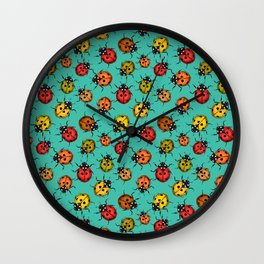 Colorful ladybugs on turquoise Wall Clock