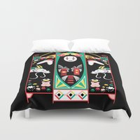 deco Duvet Covers featuring Spirited Deco by Ashley Hay